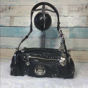 Kathy Van Zeeland Purse Black Vinyl Shoulder Bag